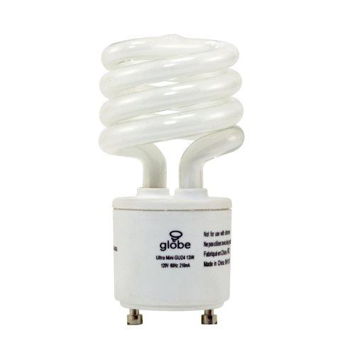 Globe 13-Watt Ultra-Mini Compact Fluorescent Spiral Bulb, Gu24 Base, Soft White #3560601