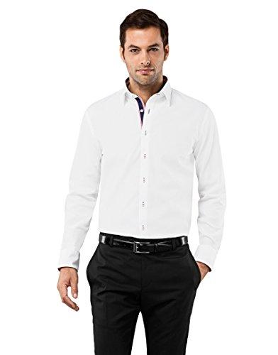 VB -  Camicia classiche  - Basic - Classico  - Maniche lunghe  - Uomo blanc/bordeaux X-Large