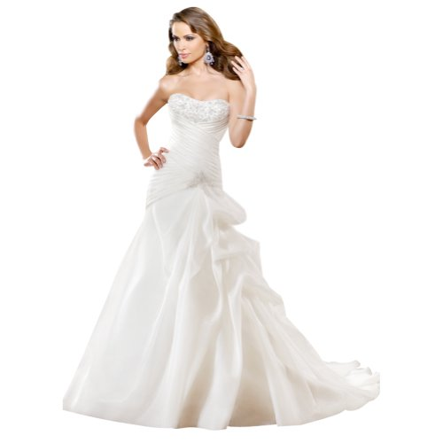 GEORGE BRIDE Simple Strapless Satin Wedding Dress