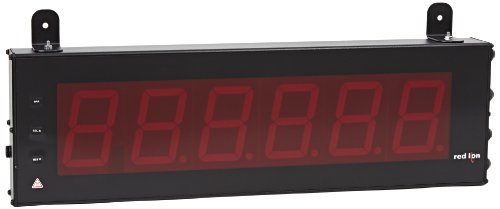 "Red Lion Large Timer Led Display With Dual Relay Output And Serial Ports, 6 Digits, 4.0"" High Character, 50-250 Vac/Dc, 50/60 Hz"