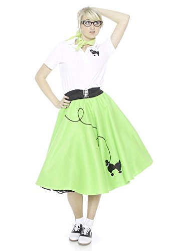 Hip Hop 50S Shop Adult 7 Piece Poodle Skirt Outfit - Large Lime Green