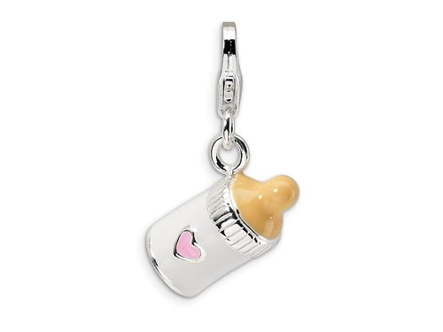 Amore LaVita(tm) Sterling Silver 3-D Enameled Baby Bottle w/Lobster Clasp Charm for Charm Bracelet