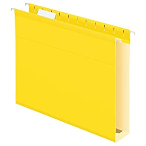 Pendaflex Extra Capacity Reinforced Hanging Folders, Letter Size, Yellow, 25 per Box (4152X2YEL)