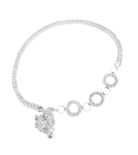 TdZ Metallic Fashion Chain Belt - Rhinestone Accent Chain & Rings Center Feature (Silver)
