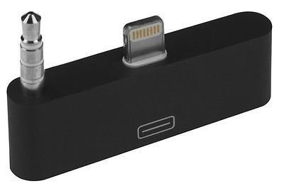 GadgetinBox™ - (Black) 8 Pin to 30 Pin Audio Converter Adapter Connector Docking For Apple iPhone 5 5S 5C iPod Touch 5