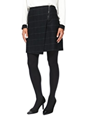 M&S Collection Checked Wrap Kilt Mini Skirt with New Wool