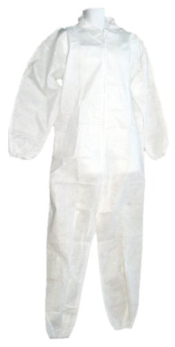 Galaxy Products WDC25L Disposable White Economy Polypropylene Coveralls, Large, 25-Pack