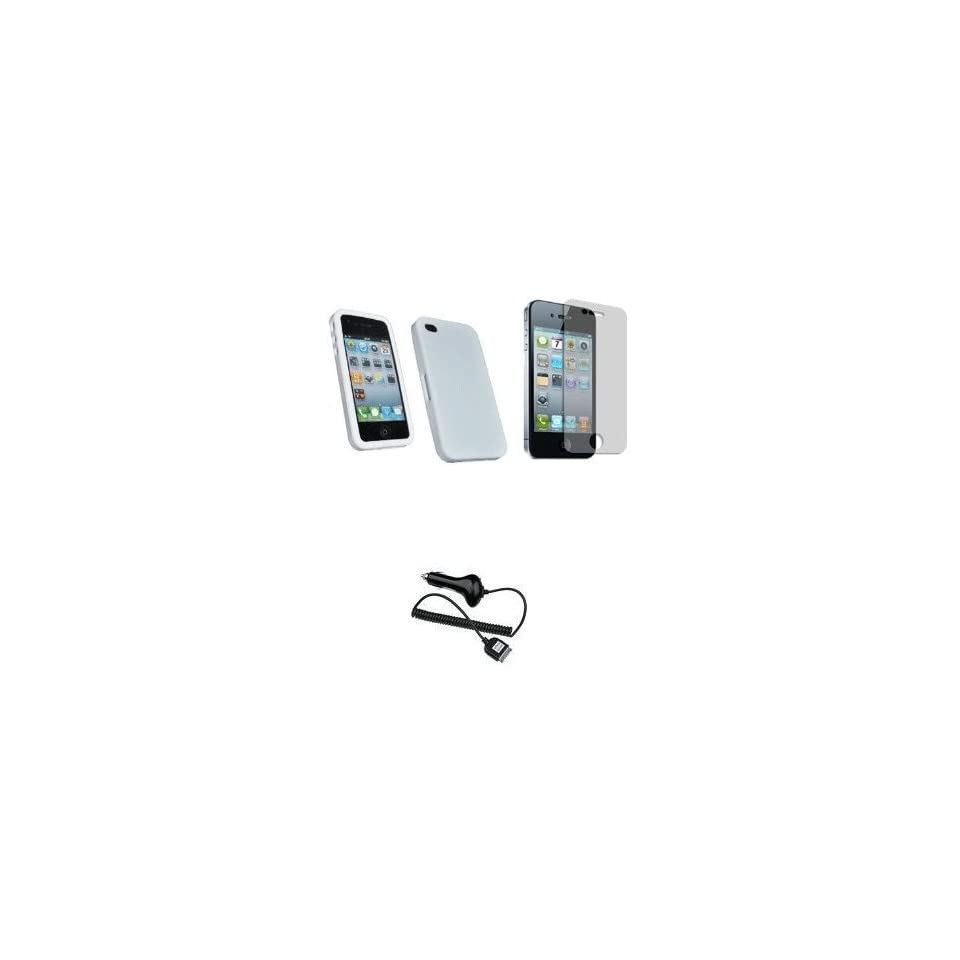 Mobile Palace   White silicone skin case cover pouch holster with screen protector and car charger for Iphone 4