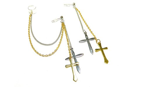 Gold and Silver Big Crosses Ear Cuff Set Handmade