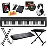 Yamaha P-35 Digital Piano Bundle with Gearlux Double-Braced Stand, Gearlux Padded Bench, Gearlux Dust Cover, Sustain Pedal, Headphones, Austin Bazaar Instrucational DVD, Hal Leonard Instructional Book, and Austin Bazaar Polishing Cloth - Black