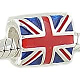 Everbling Union Jack British Flag Enamel Authentic 925 Sterling Silver Charm Bead Fits Pandora Chamilia Biagi Troll Charms Europen Style Bracelets