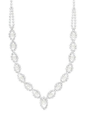 Swarovski Crystal Lydia Pearl Necklace / Swarovski Crystal Necklace in Silver / Swarovski Pearl Necklace / Silver Crystal Necklace / Swarovski Crystal Lydia Necklace in Silver Crystal & Pearl