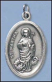 100 Piece Pack, Patron Saints Medals, St. Martha, Italian Oxidized Silver.