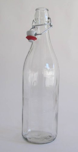 Traditional Fluted 1-litre Glass Bottle with Ceramic Swing Stopper