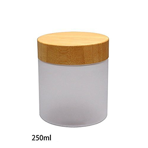 250Gram/ML Refillable Glass Jars with Liners and Environmental Bamboo Lids Frosted Glass Cream Bottle Pot Jars Cosmetic Comtainer (Bamboo Lid Glass Container compare prices)