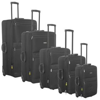 Dunlop 5 Piece Wheeled Suitcase Set Black 5Pc Nest