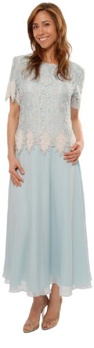 Mother of the Bride Light Blue Tea Length by The Evening Store
