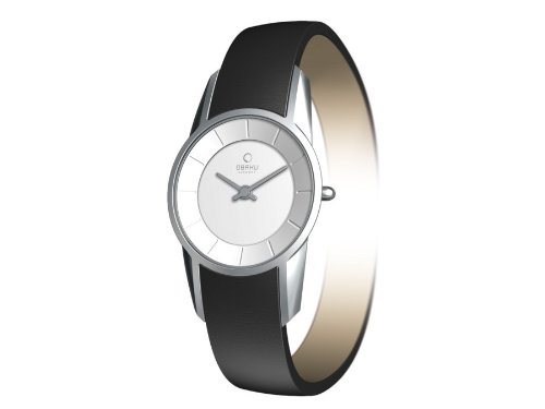 Obaku by Ingersoll ladies silver dial black leather strap watch