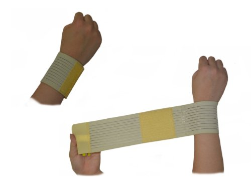 Wrist Bandage - Weight Lifting Support - Wrap-Around Brace - One Size - One Pair