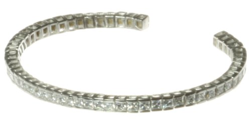 Stylish 925 Sterling Silver Ladies Bangle with Cubic Zirconia/CZ - 6cm*3mm, 10 Grams