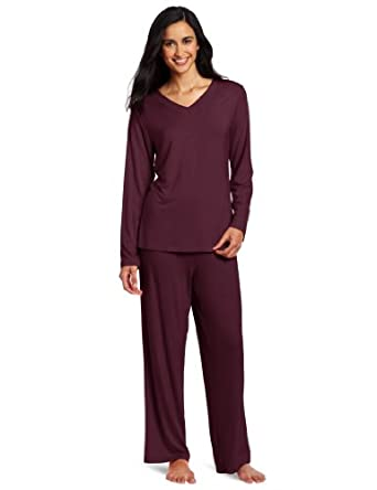 Casual Moments Women's Pajama V-Neck Set, Eggplant, Large