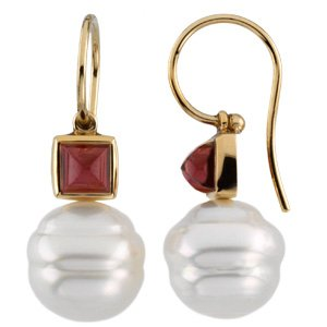 14k Gold S. Sea Cult. Pearl Gar. Rhodolite Earring 5mm 11mm - JewelryWeb