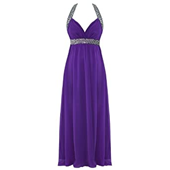 Purple Cocktail Dress on 0354 Chiffon Cocktail Evening Maxi Boho Party Dress Purple   Uk 8