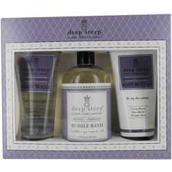 Deep Steep Terrific Trio Gift Set Body Wash and Bubble Bath and Body Butter Lavender Chamomile -- 1 Set by Deep Steep