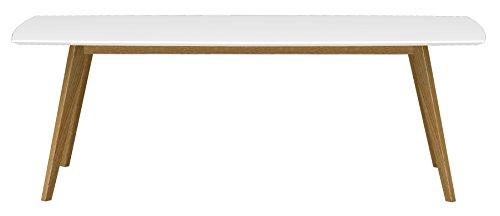 2183-001 Bess Designer Esstisch, Tischplatte MDF lackiert, Matt, 75 x 220 x 95 cm, weiß / eiche