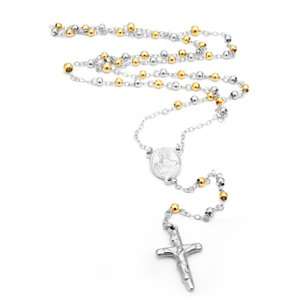 Polished Stainless Steel Rosary With Alternating 6MM Gold Plated Beads - 30 Length