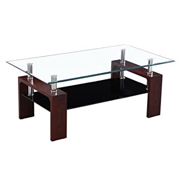 Modern Style Coffee Table with Metal Glass Top , in Mahogany Finish Great to Any Modern to Classic Furnishings