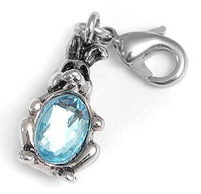 Charms4you Charm Pendant for Bracelet Wristband Rabbit with Blue Stone