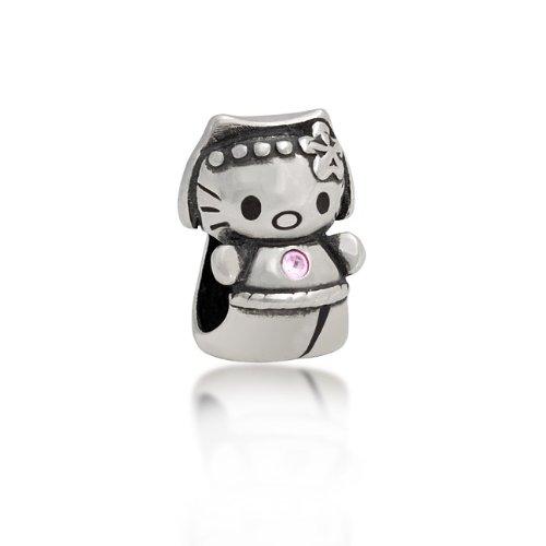 Bling Jewelry 925 Silver Pink CZ Cool Kitty Cat Animal Charm Bead Fits Pandora
