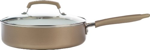 WearEver C9443364 Pure Living Nonstick Ceramic Coating PTFE-PFOA-Cadmium Free Dishwasher Safe 3.5-Quart Jumbo Cooker Cookware, Champagne Gold