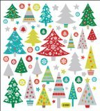 Tattoo King SK129MC-1272 Multicolored Sticker, Glitter Christmas Trees