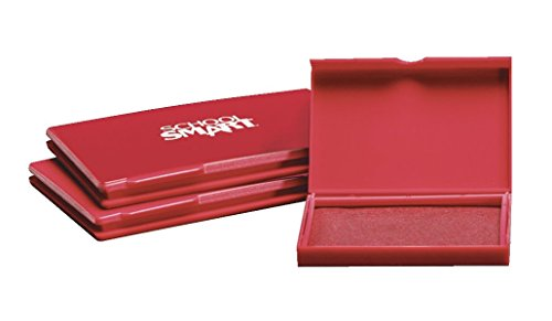 School Smart Pre-Inked Stamp Pad, Size 2, Red