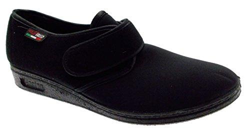 pantofola velcro panno elasticizzato nero fisioterapia extra large 35 nero