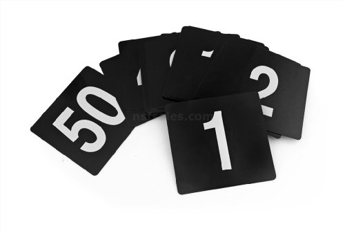New Star Foodservice 23145 Double Side Plastic Table Numbers, 1 to 25, 4 by 4-Inch, White on Black (Restaurant Numbers compare prices)