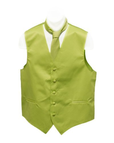 Fine Brand Shop Men's Lime Green Solid Jacquard Suit Vest and Neck Tie Set - Small