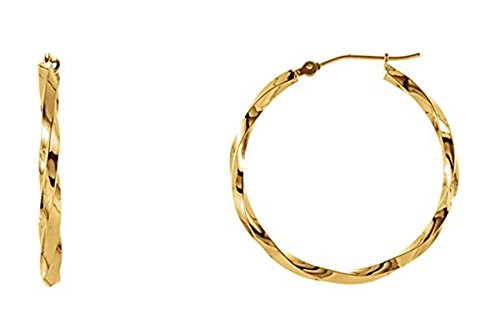 Medium 14k Yellow Gold Twisted Hoop Earrings with Click-down Clasp, 1.2 In (30mm) (2.3mm Tube)