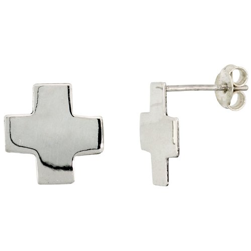 Tiny Sterling Silver Cross Stud Earrings, 1/2 inch (13 mm)