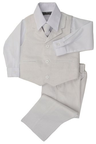 G270 Boys Summer Linen Blend Suit Vest Dresswear Set (8, White) front-425602