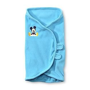 Disney Baby Blue Mickey Mouse Swaddler Blanket front-102396