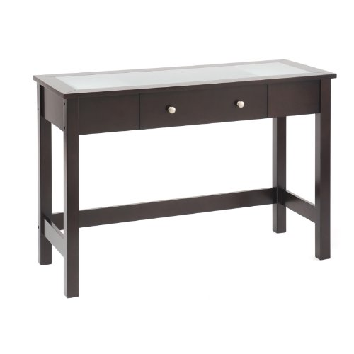 Cheap Bay Shore Collection Sofa/Console Table with Glass Insert Top and Drawer, Espresso (F68314-02)