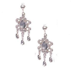 Godiva Silver Crystal Drop Clip On Earrings