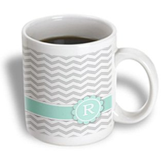 3Drose Mug_154237_2 Letter R Monogrammed On Grey And White Chevron With Mint-Gray Zigzags-Personal Initial Zig Zags Ceramic Mug, 15-Ounce