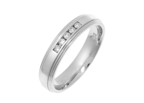 Eternity Ring, 9ct White Gold Diamond Ring, Channel Set, 0.1 Carat Diamond Weight