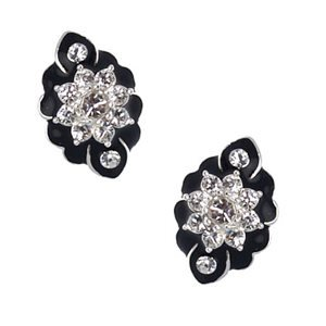 Fionnait Silver Black Crystal Clip On Earrings