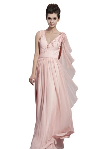 CharliesBridal Pink V-Neck Floor Length Formal Evening Dress with Petal Sleeve - S - Pink