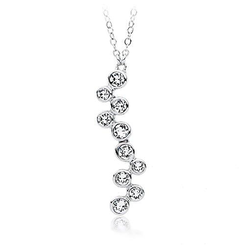 MYJS Fidelity-Collana con ciondolo, placcata al rodio, con bollicine di cristalli Swarovski, lunghezza 17 cm